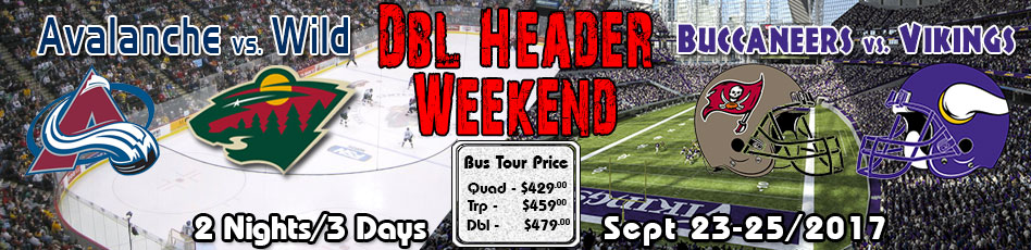 Winnipeg to Minneapolis bus tour Sept 23-25/2017 buccaneers vs vikings and avalanche vs wild double header