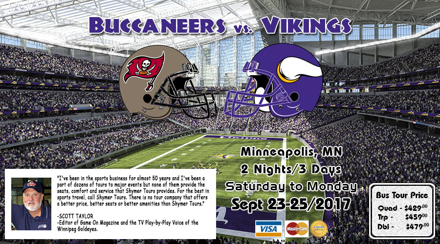 Winnipeg to Minneapolis Vikings vs Buccaneers  bus tour Sept 23-25/2017