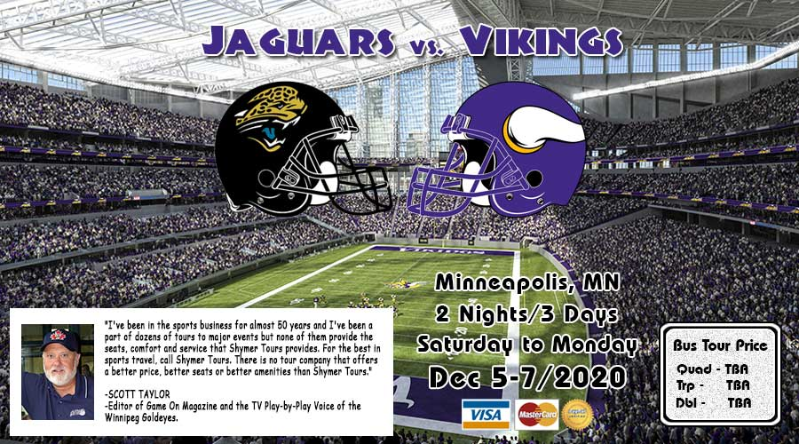 Jaguars vs Vikings bus tour Dec 5-7/2020