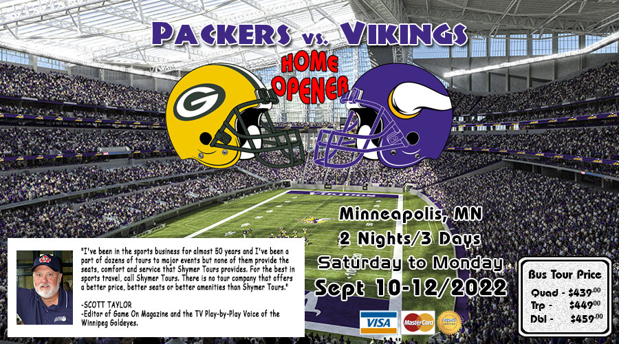 Packers vs Vikings bus tour Oct 14-16/2017