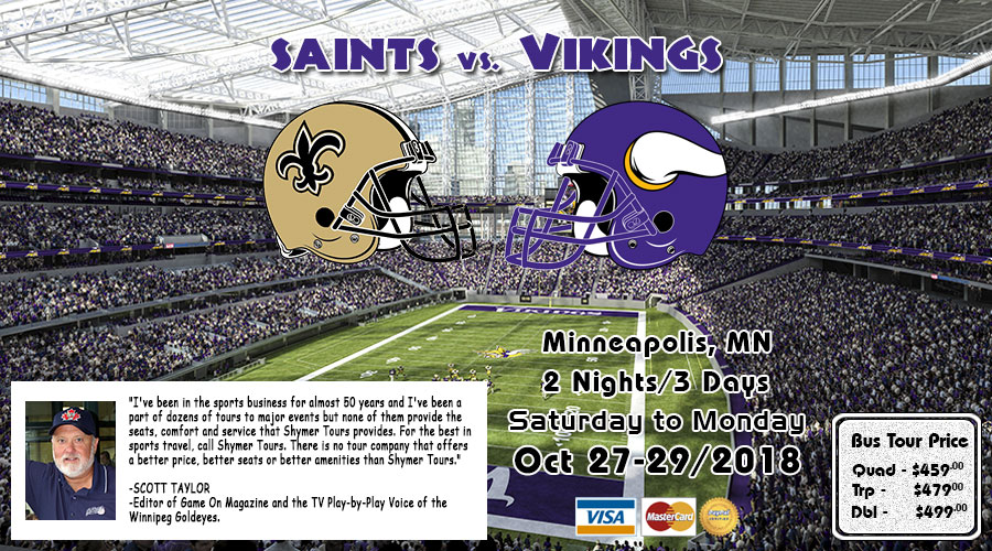 Winnipeg to Minneapolis Vikings vs Saints bus tour oct 27-29/2018