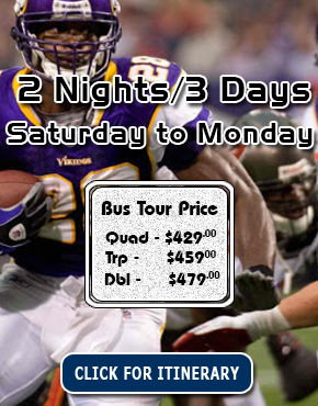 Winnipeg to Minneapolis Buccaneers vs Vikings and Avalanche vs Wild bus tour Sept 23-25/2017
