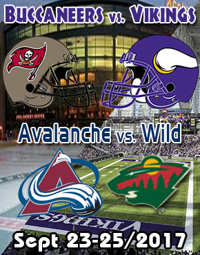 Winnipeg to Minneapolis Buccaneers vs Vikings and Avalanche vs wild bus tour Sept 23-15/2017
