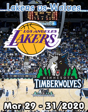 Winnipeg to Minneapolis Timberwolves vs Lakers March 29-31/2020
